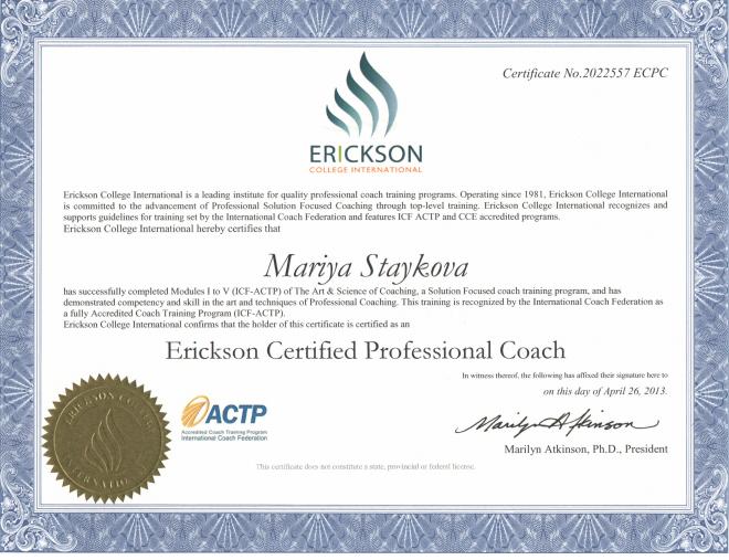 Maria Staykova Erickson Professional Certified Coach