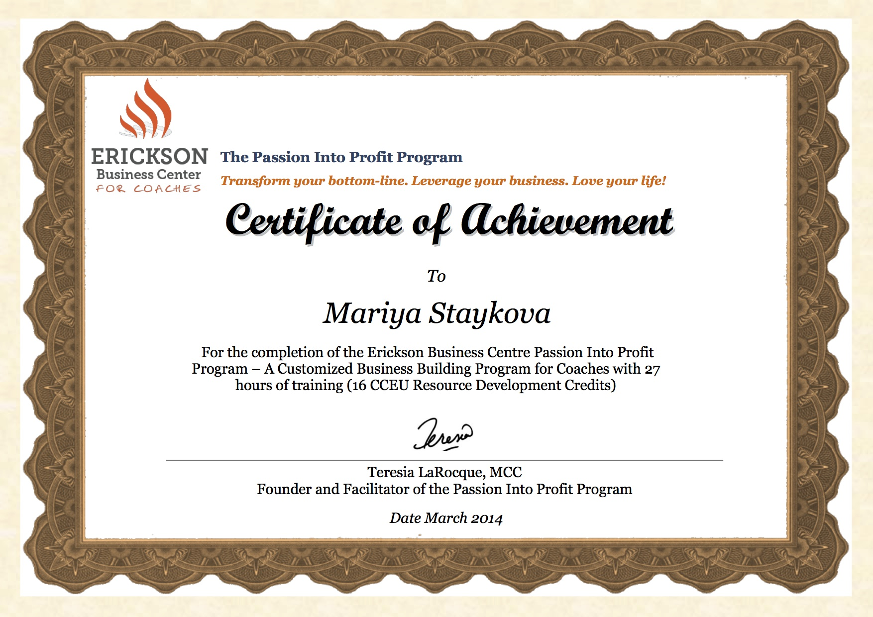 Maria Staykova Erickson Certificate of Achievement