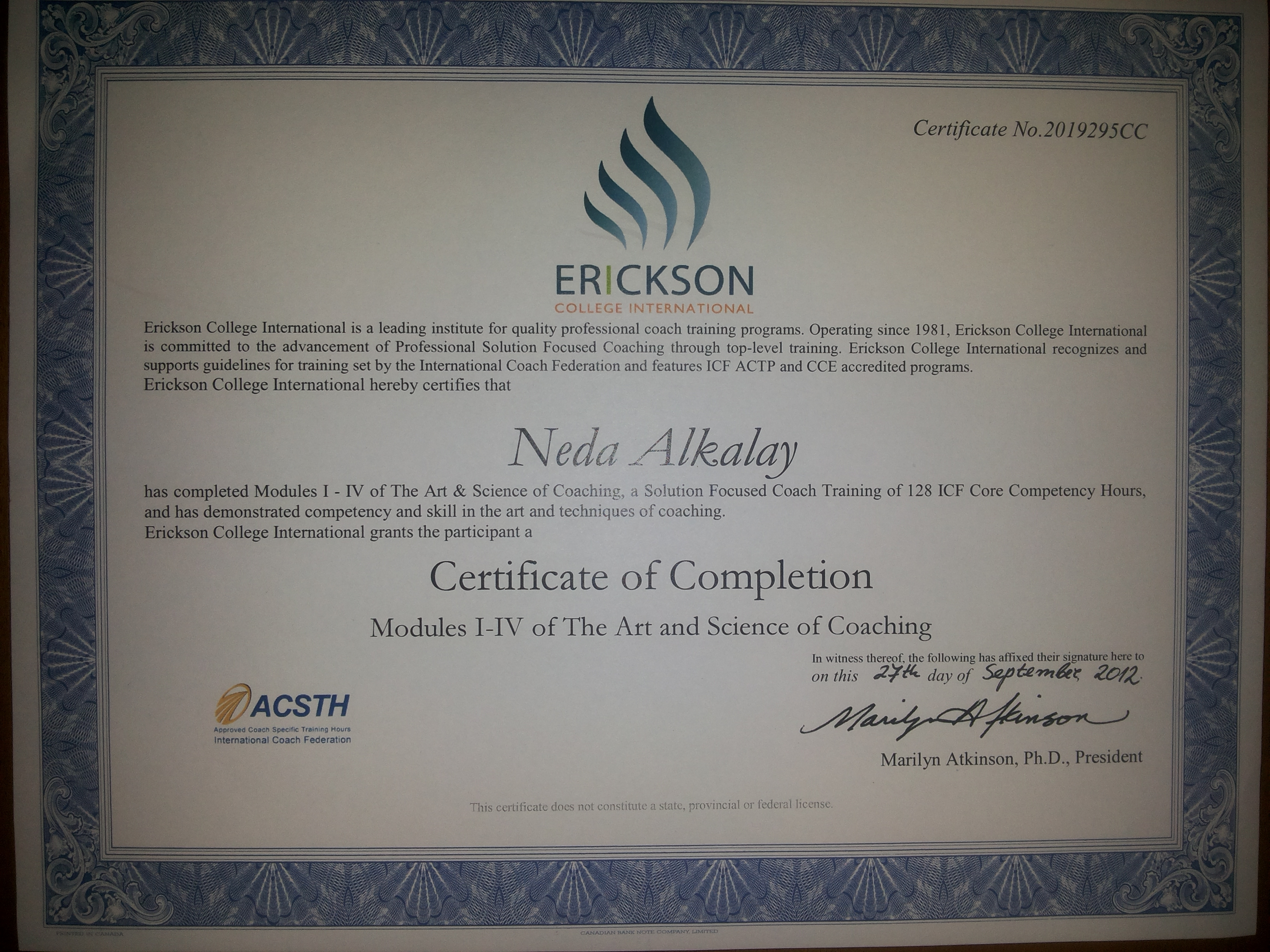 Neda Alkalay Erickson College Certificate of Completion