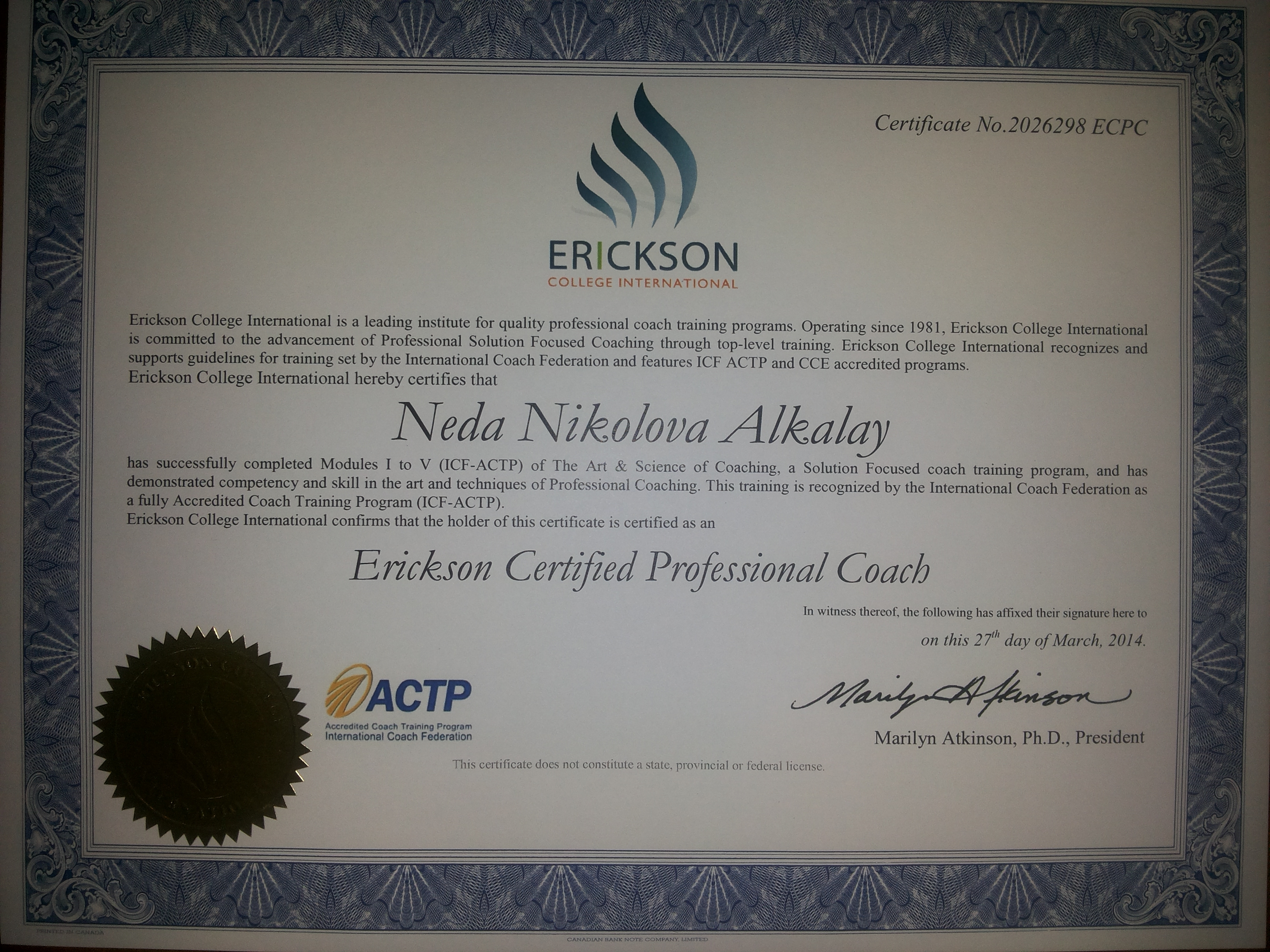 Neda Alkalay Erickson Certified Professional Coach