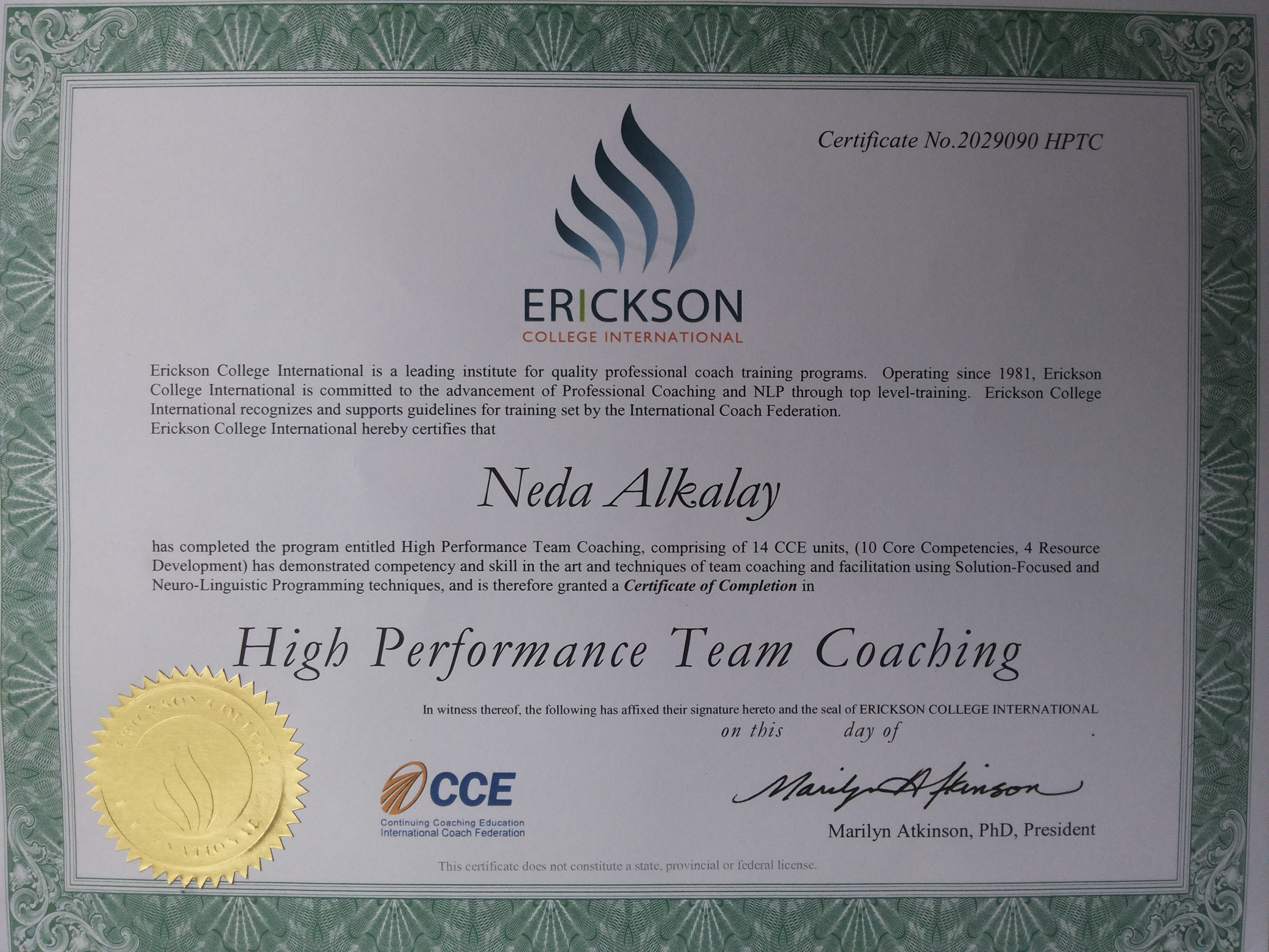 Neda Alkalay Erickson Certificate High Performance Team Coaching