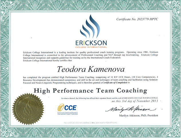 Teodora Kamenova High Performance Team Coach Certificate