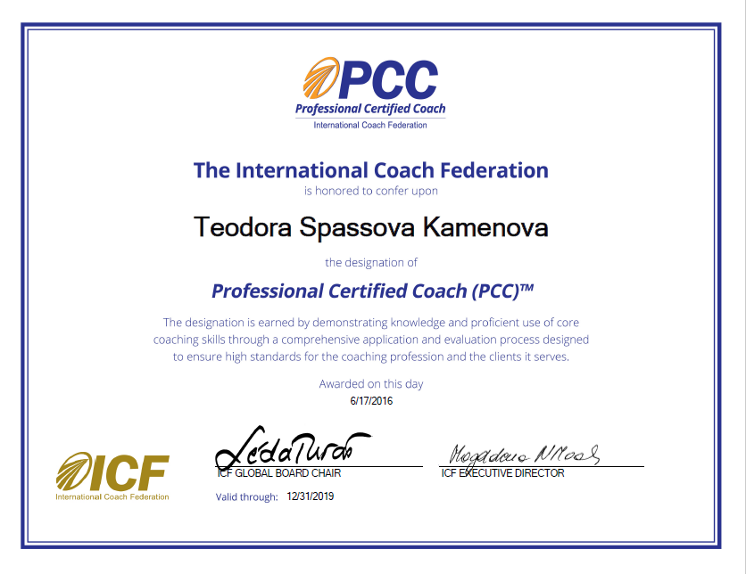 Teodora Kamenova PCC Professional Certified Coach