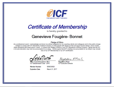 Genevieve Fougere ICF Certificate of Membership